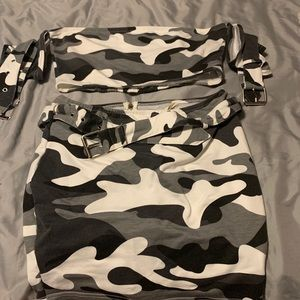 Camouflage 2 piece set skirt and top